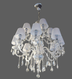 Clear chandelier with white shades