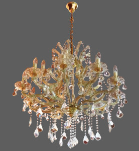 Gold and copper chandelier