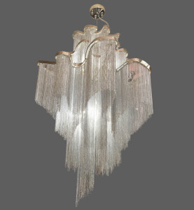 Silver and white chain chandelier