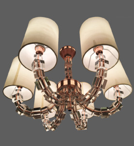 Copper chandelier with beige shades