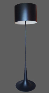 Black floor lamp with black shade