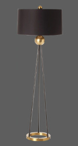 floor lamp with black shade and stand