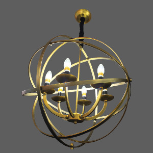 Gold orbit pendant light
