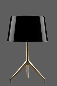 table lamp with glossy black shade
