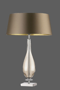 table lamp with shiny brown shade
