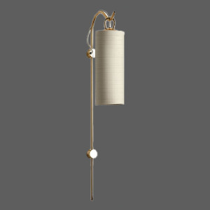Gold wall light with beige shade